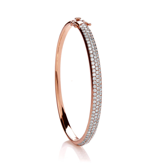 18ct Rose Gold 3.00ct Pave Set Diamond Bangle TGC-DBN0049
