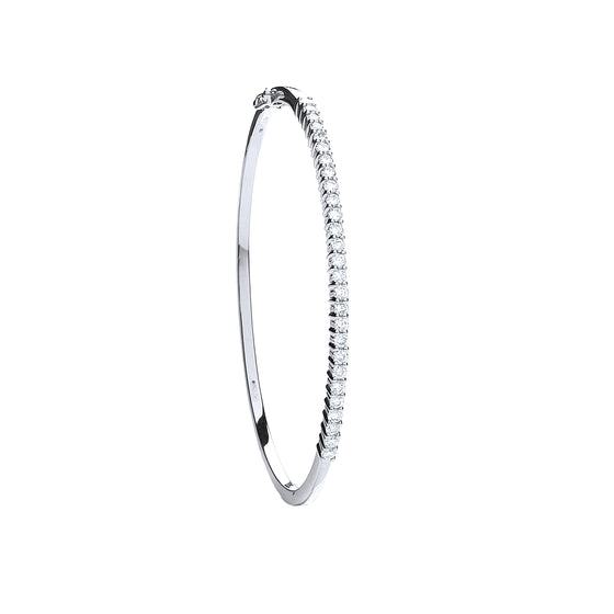 9ct White Gold 1.10ct Diamond Bangle TGC-DBN0052