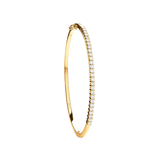 9ct Yellow Gold 1.10ct Diamond Bangle TGC-DBN0054