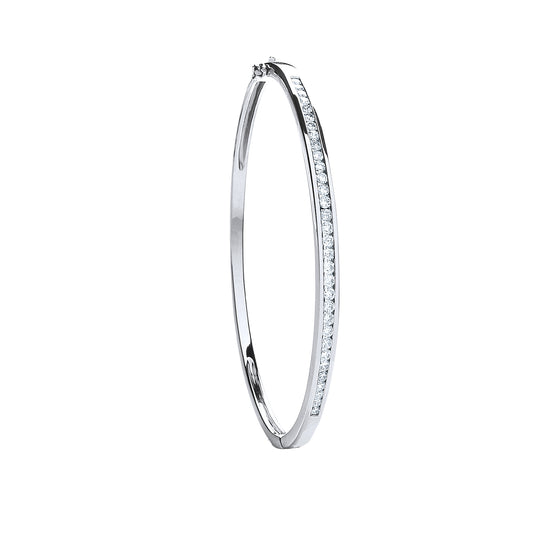 18ct White Gold 1.00ct Pave Set Diamond Bangle TGC-DBN0055