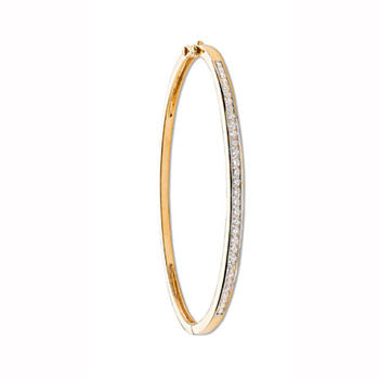 9ct Yellow Gold 1.00ct Channel Set Diamond Bangle TGC-DBN0011