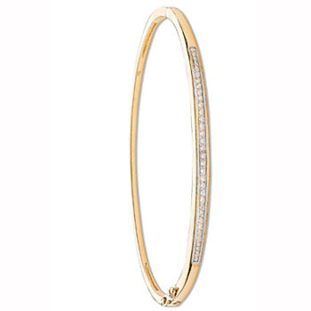 9ct Yellow Gold 0.50ct Channel Set Diamond Bangle TGC-DBN0008