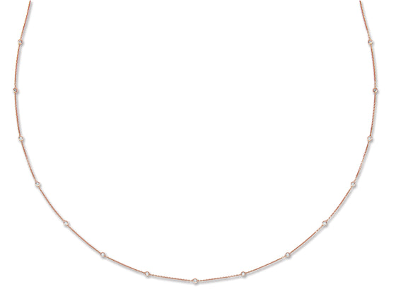 18ct Rose Gold 1.00ct Rubover Diamond Chain (36in/91cm) TGC-DCN0065