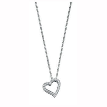 9ct White Gold 0.13ct Diamond Heart Pendant with 18in/45cm Chain TGC-DCN0012