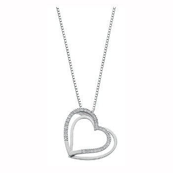 9ct White Gold 0.15ct Diamond Double Heart Pendant with 18in/45cm Chain TGC-DCN0013