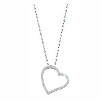 9ct White Gold 0.12ct Diamond Heart Pendant with 18in/45cm Chain TGC-DCN0014