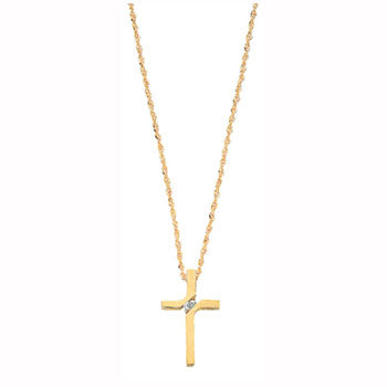 9ct Yellow Gold 0.04ct Diamond Cross Pendant with 18in/45cm Chain TGC-DCN0022
