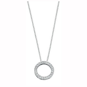 9ct White Gold 0.25ct Diamond Circle Pendant with 18in/45cm Chain TGC-DCN0025