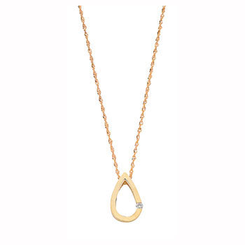 9ct Yellow Gold 0.04ct Diamond Tear Drop Pendant with 18in/45cm Chain TGC-DCN0008