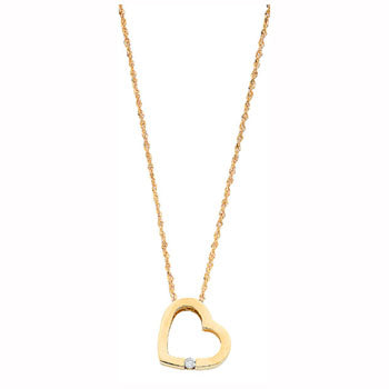 9ct Yellow Gold 0.04ct Diamond Heart Pendant with 18in/45cm Chain TGC-DCN0009