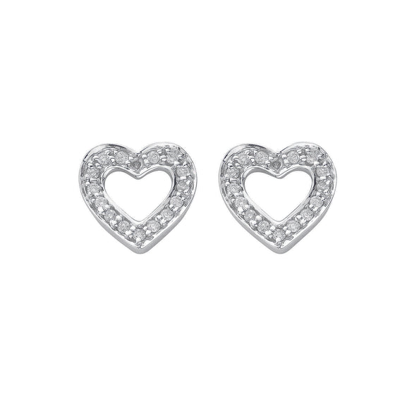 18ct White Gold 0.18ct Diamond Heart Stud Earrings TGC-DER0032