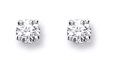 18ct White Gold 0.25ct Claw Set Diamond Stud Earrings TGC-DER0114
