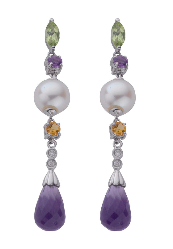 9ct White Gold Diamond Pearl & Multi Colour Gem Drop Earrings TGC-DER0132