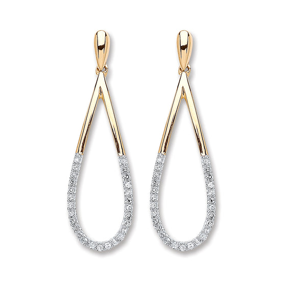 9ct Yellow Gold 0.15ct Diamond Drop Earrings  TGC-DER0211
