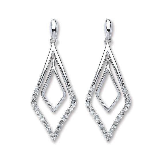 9ct White Gold 0.15ct Diamond Drop Earrings  TGC-DER0216