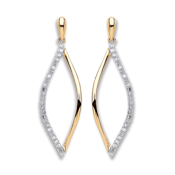 9ct Yellow Gold 0.15ct Diamond Drop Earrings  TGC-DER0217