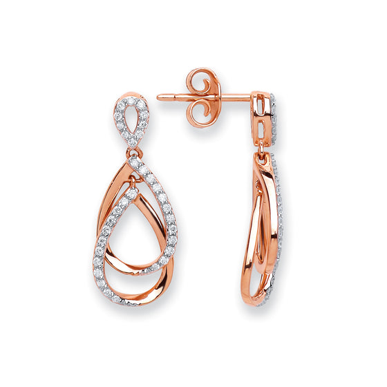 18ct Rose Gold 0.30ct Diamond Drop Earrings  TGC-DER0233