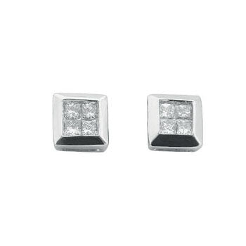 9ct White Gold 0.25ct 4 Stone Rubover Set Princess Cut Diamond Stud Earrings TGC-DER0104