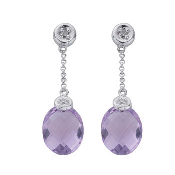 9ct White Gold Diamond & Amethyst Drop Earrings TGC-DER0121