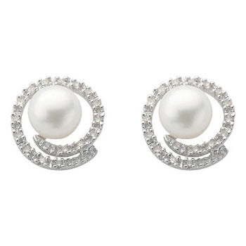 9ct White Gold Diamond & Pearl Stud Earrings TGC-DER0153