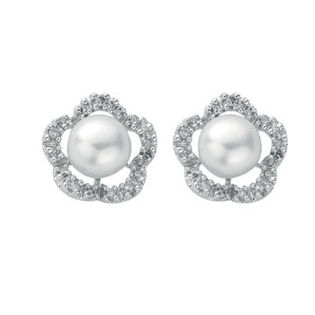 9ct White Gold Diamond & Pearl Stud Earrings TGC-DER0154