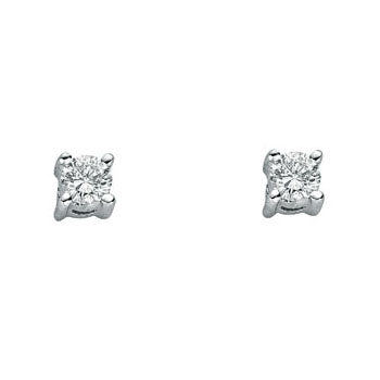 9ct White Gold 0.25ct Claw Set Diamond Stud Earrings TGC-DER0174
