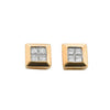 9ct Yellow Gold 0.25ctw 4 Stone Rubover Set Princess Cut Diamond Stud Earrings TGC-DER0030