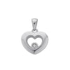 9ct White Gold Floating Diamond Heart Pendant TGC-DPD0149