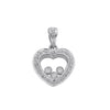 9ct White Gold 0.17ct Floating Diamond Heart Pendant TGC-DPD0153