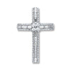 18ct White Gold 1.00ct Baguette & Brilliant Cut Diamond Cross Pendant TGC-DPD0385