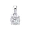 18ct White Gold 0.25ct Diamond Cluster Pendant TGC-DPD0394