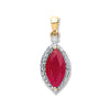 9ct Yellow Gold 0.10ct Diamond, 0.90ct Marquise Ruby Pendant TGC-DPD0401