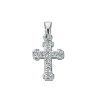 9ct White Gold 0.06ct Diamond Cross TGC-DPD0180