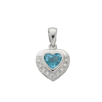 9ct White Gold Diamond & Blue Topaz Diamond Pendant TGC-DPD0238