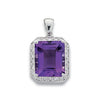 9ct White Gold Diamond & Amethyst Pendant TGC-DPD0248
