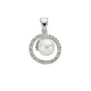 9ct White Gold 0.10ct Diamond & Freshwater Pearl Pendant TGC-DPD0317