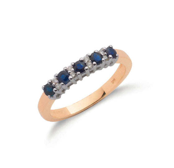 9ct Yellow Gold Diamond & Blue Sapphire Eternity Ring TGC-DR0032