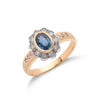 18ct Yellow Gold Diamond & Blue Sapphire Cluster Ring TGC-DR0096