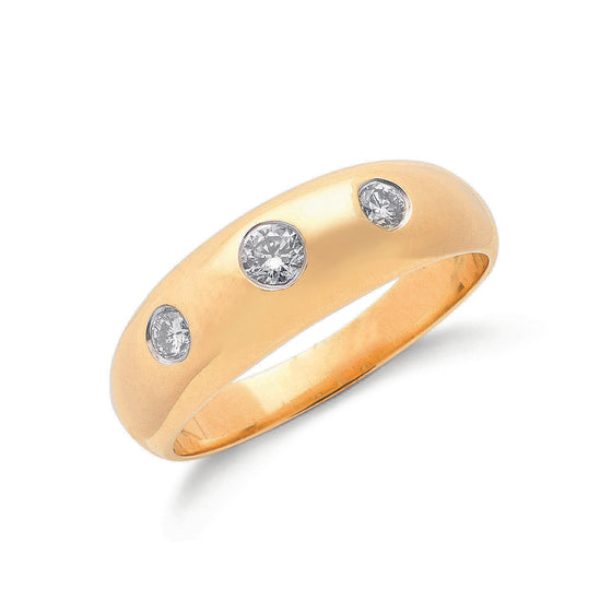 9ct Yellow Gold  0.34ct Gents 3 Stone Diamond Band TGC-DR0106