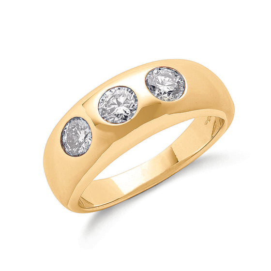18ct Yellow Gold 1.00ct Gents 3 Stone Diamond Band TGC-DR0232
