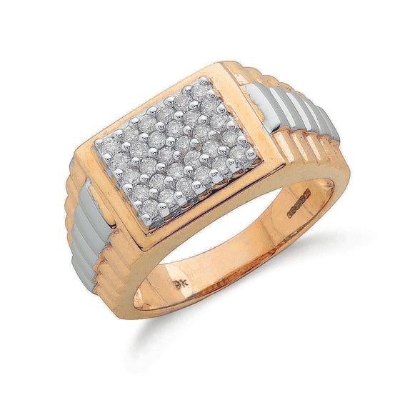 9ct Yellow Gold 0.50ct Gents Diamond Ring TGC-DR0238