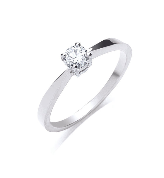 Platinum 0.25ct G/H-Si Diamond Engagement Ring TGC-DR0358