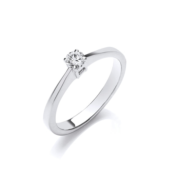 9ct White Gold 0.15ct Diamond Engagement Ring TGC-DR0390
