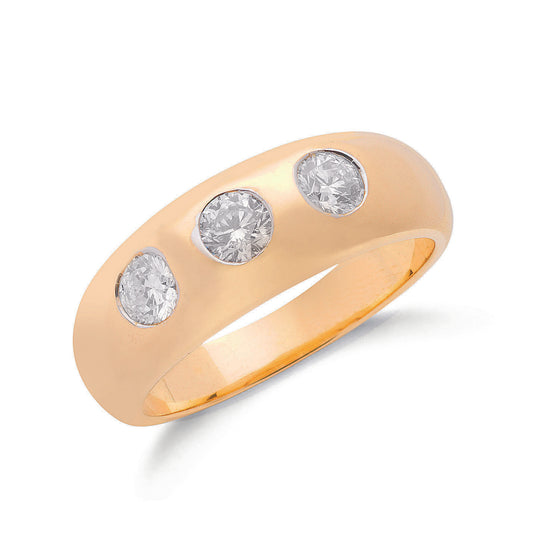 9ct Yellow Gold  1.00ct Gents 3 Stone Diamond Band TGC-DR0485