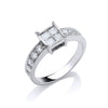 18ct White Gold 0.75ct 4 Stone Centre Princess Cut Diamond Engagement Ring TGC-DR0502