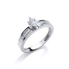 18ct White Gold 0.50ct Marquise & Princess Cut Diamond Engagement Ring TGC-DR0596