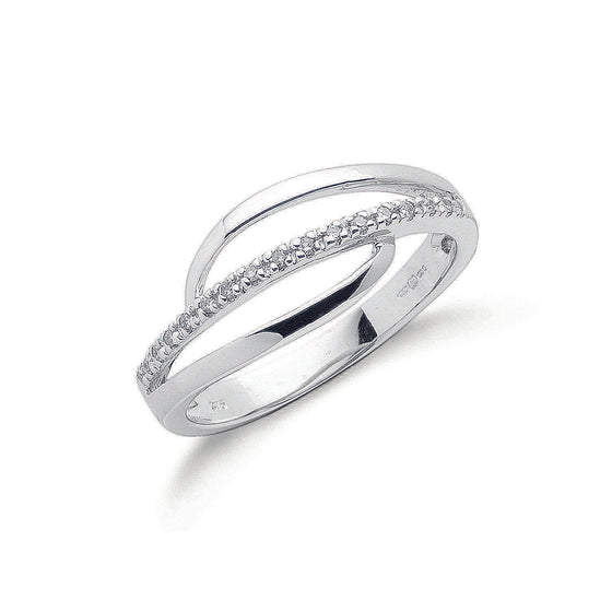 9ct White Gold 0.07ct Diamond Crossover Ring TGC-DR0626