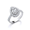18ct White Gold 1.00ct Pear Shaped Diamond Ring TGC-DR0689