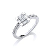 18ct White Gold 0.50ct Princess Cut Centre Diamond Ring TGC-DR0690