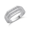 9ct White Gold 1.00ct 2 Row Gents Diamond Ring TGC-DR0714